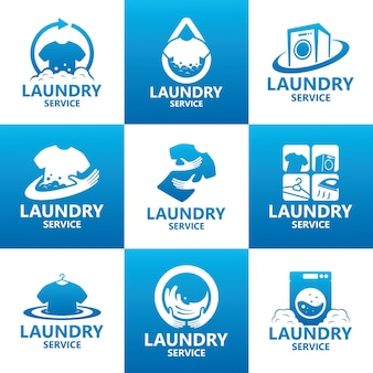 Set of laundry service logo