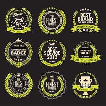 Set of laurel wreath awards badges
