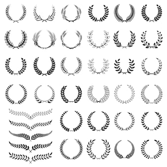 Set of laurel wreath icons.  element for logo, label, emblem, sign.  illustration