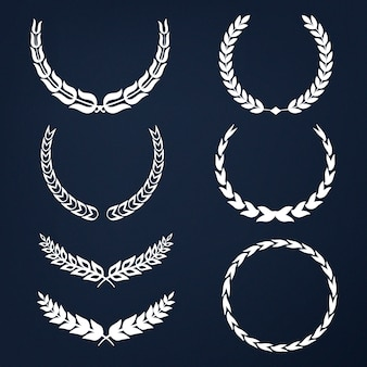 Set of laurel wreath illustration vectors