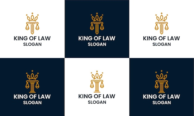 Set of law firm, attorney, pillar logo design template with line art style and crown concept