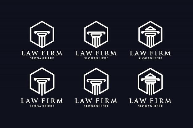 법률 사무소 라인 개념 로고 디자인 영감 설정