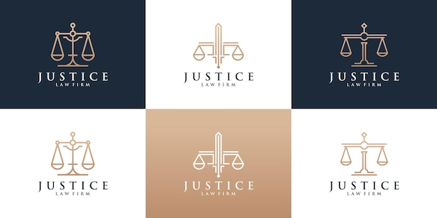 Set of law firm logo set with golden color.