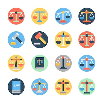 Set of law flat icons