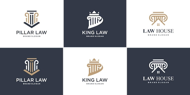 Set of law logo element with unique style premium vector
