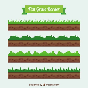 Set of lawn and earth edges in flat design