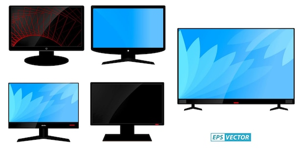 Set of lcd tv flat screen or black tv frame or modern blank screen mock up television concept