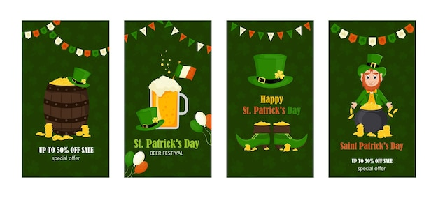 Set of leaflets, brochures, invitations to the st. patrick's day holiday. vector illustration cartoon style.