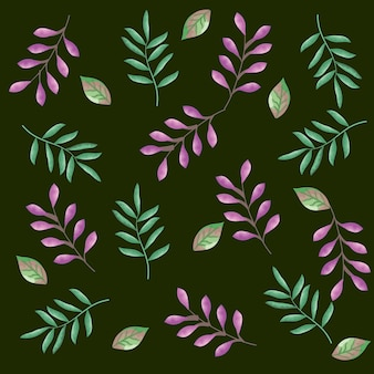 Set leafs plant pattern background