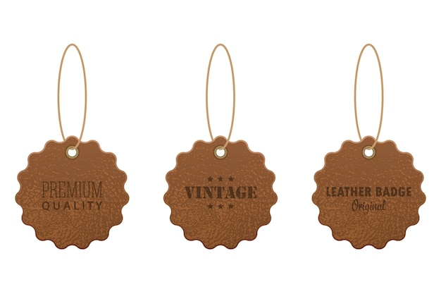 Set of leather labels  illustration  on white background
