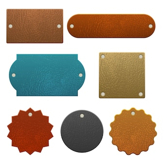 Set of leather labels  isolated on white background