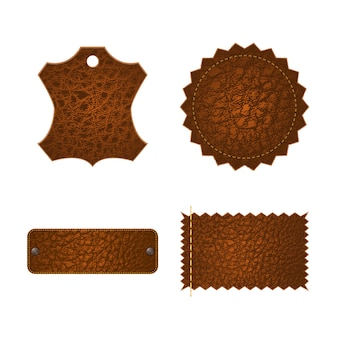 Set of leather tag labels.