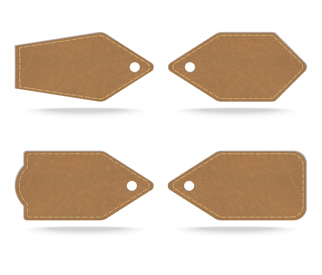 Set of leather tag on white  background ,vector illustration