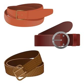 Set of leather waist belts isolated on background