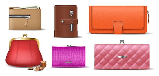 Set of leather wallets male, female and unisex accessories for money banknotes, coins, bills and credit cards. realistic purses and billfolds isolated. 3d vector illustration