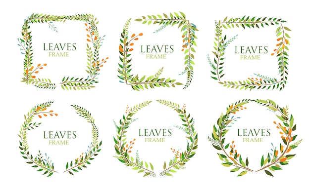 Set of leaves frame isolated on white background