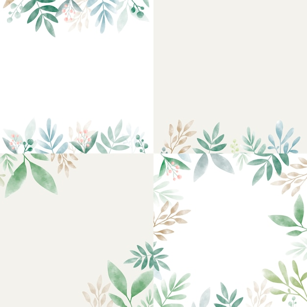 Set of leaves in watercolor with copy space