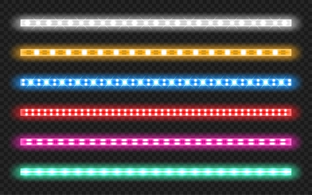 Set of led strips with neon glow effect