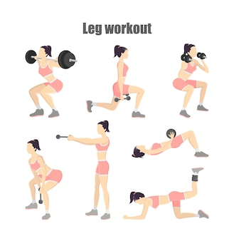 Set of leg workout