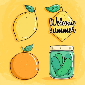 Set of lemon, orange and jar of pickles with doodle style on yellow background