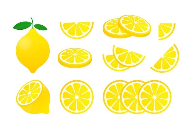 Установите лимон. иллюстрация желтый лимон на белом фоне.