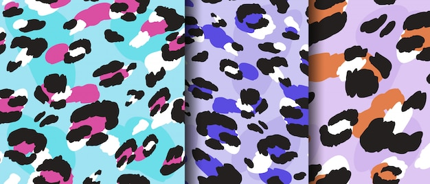 Set leopard drawing seamless pattern