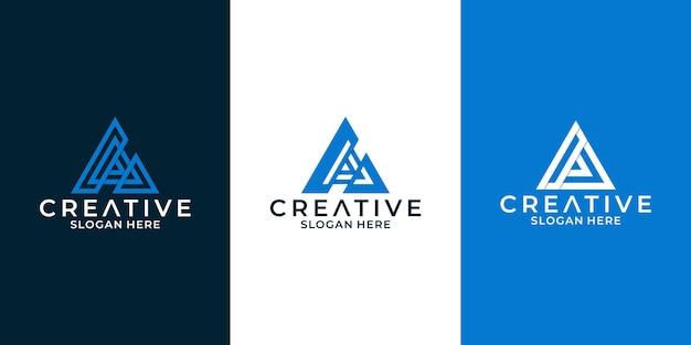 비즈니스에 그림자가 있는 문자 a 로고 디자인 설정