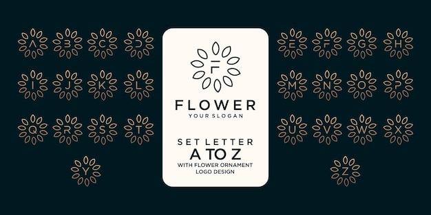 꽃 장식 로고 디자인 참조가 있는 문자 a에서 z까지 설정