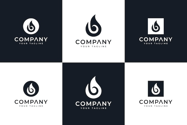 Set of letter b drops logo creative design for all uses