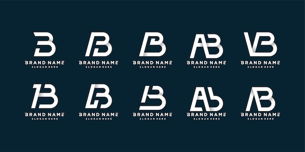 Set of letter b logo collection with clean, bold and unique style