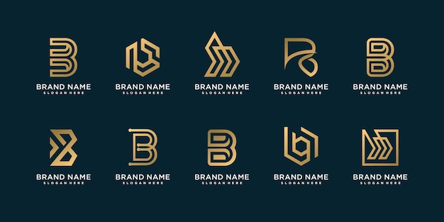 Set of letter b logo collection with modern creative concept