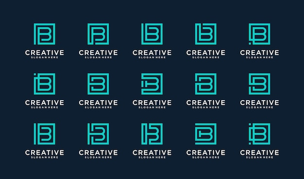 Set of letter b logo in square style