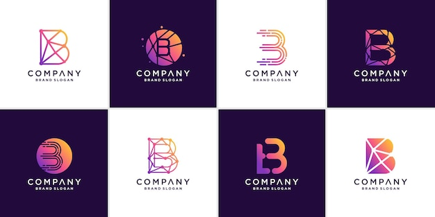 Set of letter b logo with creative abstract technology concept