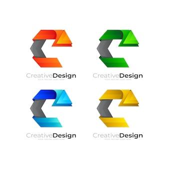 カラフルな六角形のデザインベクトルで文字cのロゴを設定します。 Premiumベクター