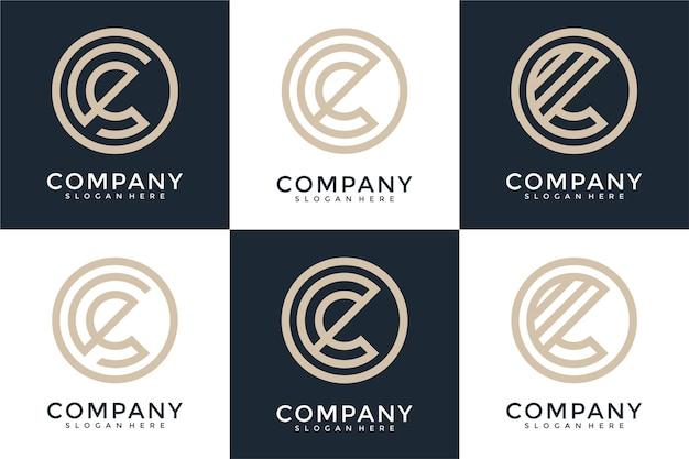 Set of letter c monogram logo design template