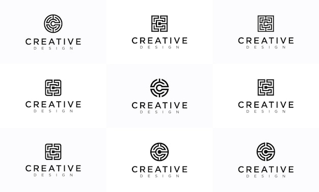 미로 로고 디자인 컬렉션 문자 c를 설정합니다.