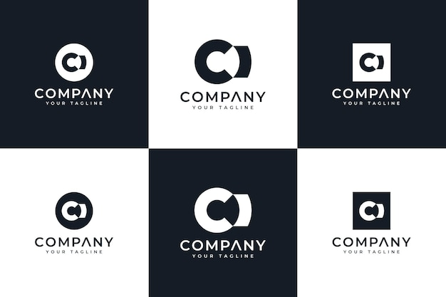 Set of letter ci logo creative design for all uses