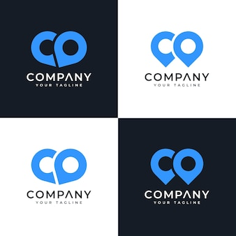 Set of letter co map pin logo creative design for all uses