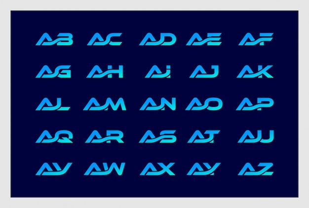 Set of letter a combine with b to z logo design premium vector.