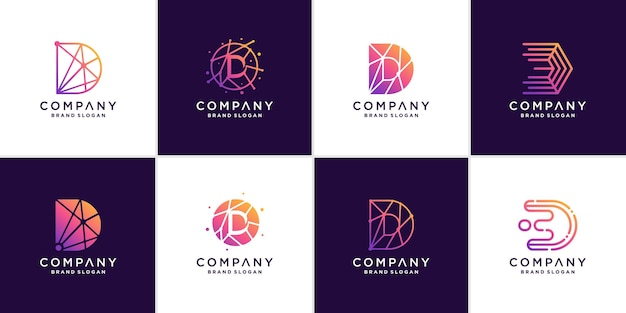 Set of letter d logo template for tech company premium vector