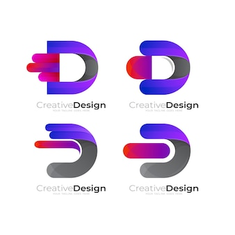조합 디자인 벡터와 문자 d 로고 설정