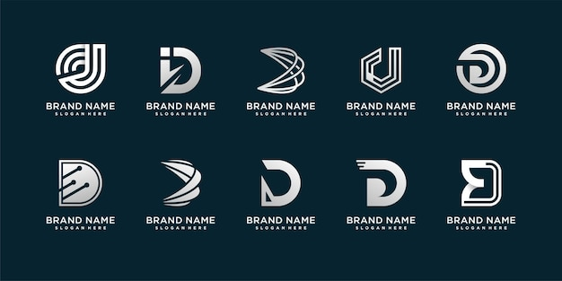 Set of letter d logo with modern creative concept