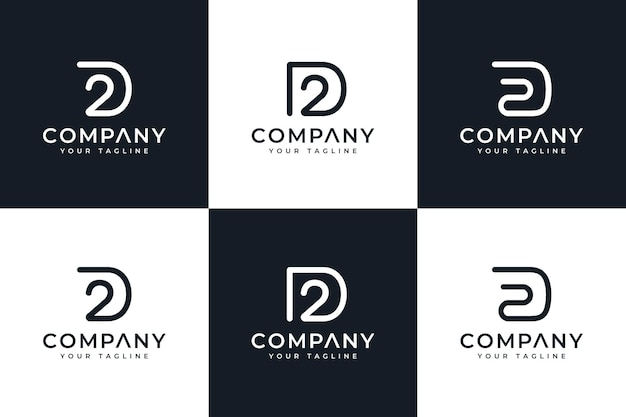 Set of letter d2 logo creative design for all uses