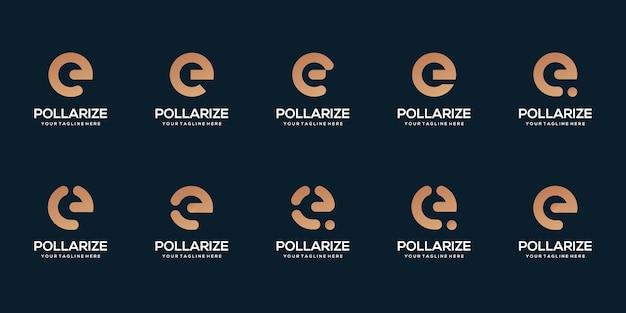 Set of letter e template illustration