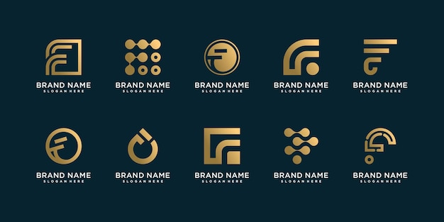 Set of letter f logo collection with unique style premium vector