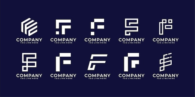 Set of letter f logo collection