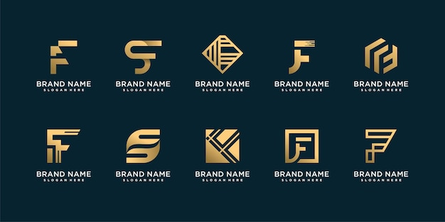 Set of letter f logo with golden creative and smart concept