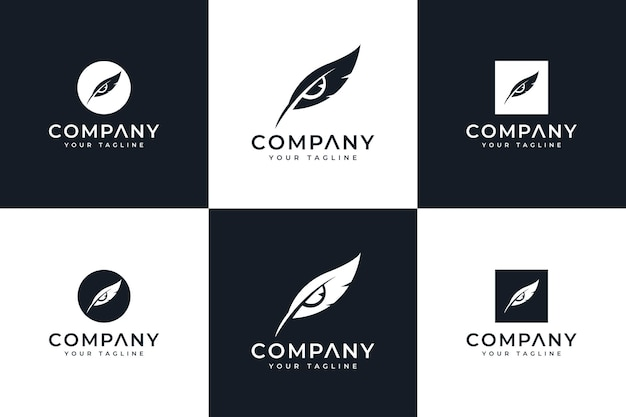 Set of letter feathers eyes logo creative design for all uses
