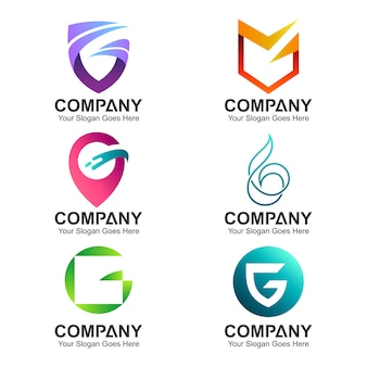 Set of letter g business logo template