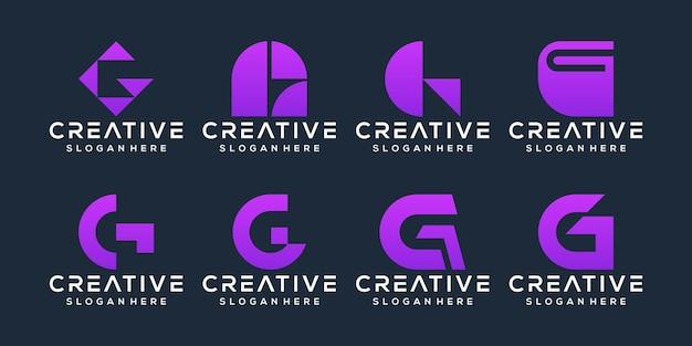 Set of letter g logo design